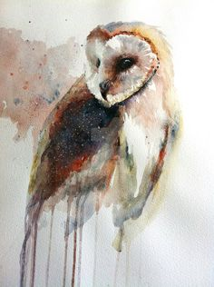 This is Eric the Barn owl who lives in Oxford. He has been painted with watercolours