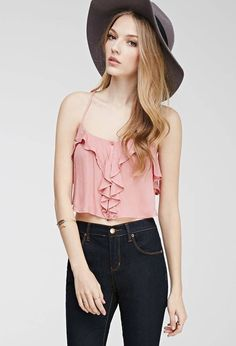 FOREVER 21 Ruffle Cropped Cami Top