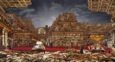 """Bibliothèque idéale 1 - a """"Hyperphoto"""" by French artist Jean-François Rauzier; if you go to the site you can zoom in and look at each part of the image in amazing detail. The Library Of Babel, French Photographers, Detailed Image, French Artists, France, Architecture Details, Surrealism, Around The Worlds, Explore"""