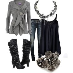 """Gray and Black"" by chells-style on Polyvore"