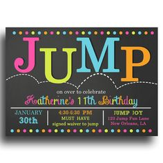Jump Invitation Printable Bounce By ThatPartyChick On Etsy