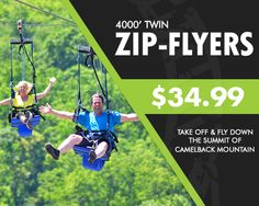 Take a flight on the adventure packed 4000' Twin Zip-Flyers! The longest Zip-Flyers in North America! Its the best way to discover the Pocono Mountains! #MyCamelback