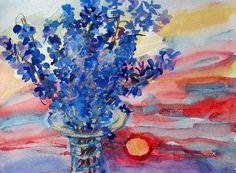 "Delphinium  by Emily Elman, watercolor, 2007, 18"" by 24"""