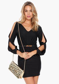 Zoe Belted Little Black Dress in Black