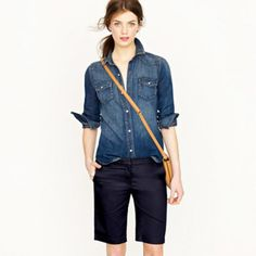 Bermuda Shorts with chambray shirt - easy for summer