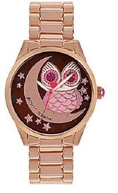 Betsey Johnson Owl and Moon Motif Dial Crystal Bezel Bracelet Watch for sale online Owl Moon, Watch Sale, Dillards, Gold Watch, Betsey Johnson, Rolex Watches, Bracelet Watch, Jewelry Box, Pendants
