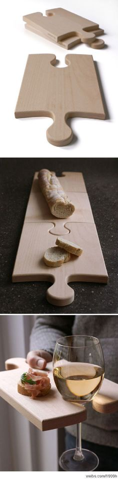 Puzzle piece cutting boards / wine  cheese plate. Smart and good-looking.
