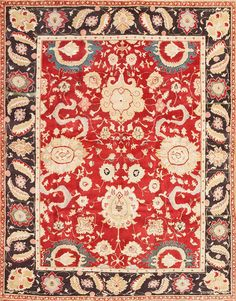 Red Vintage Indian Agra Rug 48756 by Nazmiyal