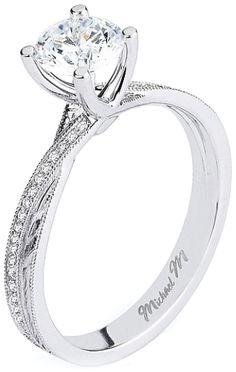 Michael M. twist shank diamond engagement ring. . Via Diamonds in the Library.