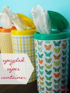 Upcycle Wipes Containers to store all your plastic grocery bags