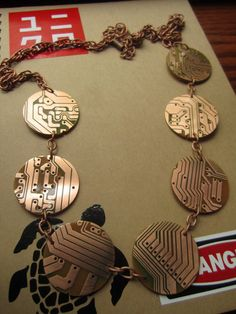 Orbital Upcycled Copper Computer Board Necklace by upcycledjewelry, $125.00