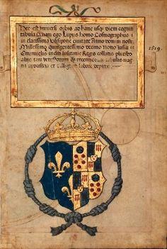 """Armes de Catherine de Médicis (f°1v) -- «Atlas nautique portugais dit """"Atlas Miller""""», Lopo Hornem (14..-15.., cartographe) [BNF GE D 26179 RES] -- See more at: http://images.bnf.fr/jsp/consulterCliche.jsp?numCliche=RC-C-22193"""