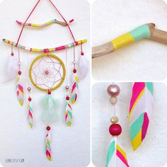 Neon Faerie Painted Driftwood Dream Catcher Mobile