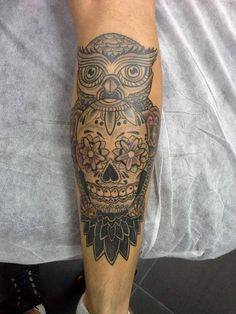 Sugar skull tattoo and owl