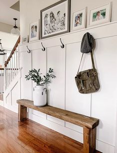 Take a tour of The Simple Farmhouse room by room. Entryway Wall, Entry Hallway, Door Entry, Decoration Entree, Hallway Decorating, Front Entry, House Tours, Home Projects, Farmhouse Decor
