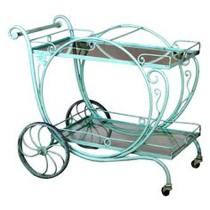 Salterini Tea Cart, ca. Ohhh a decorated tea cart would be divine! Would have to repaint, but doable Vintage Outdoor Furniture, Lawn Furniture, Retro Furniture, Cheap Furniture, Victorian Furniture, Furniture Decor, Salterini, Tea Cart, Tea Trolley