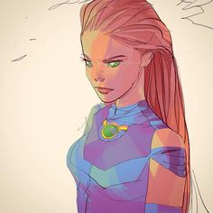 Starfire by Otto Schmidt. Robin Starfire, Nightwing And Starfire, Comic Book Characters, Comic Character, Character Design, Naruto Characters, Beast Boy, Character Sketches, Character Illustration