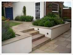 Contemporary look brick wall gardens, brick garden, garden stairs, garden. Back Garden Design, Backyard Garden Design, Backyard Landscaping, Brick Wall Gardens, Brick Garden, Garden Retaining Walls, Retaining Wall Steps, Patio Steps, Patio Ideas With Steps