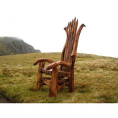 Giant storytelling chair made from recycled driftwood and wind-warped fence posts.