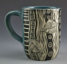 Birch Tree Sgraffito Mug Pottery Ceramics Polymer Clay