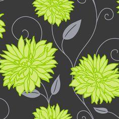 Crown Starflower Wallpaper Apple Green Black Silver