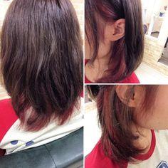 本日のお客様インナーカラーをレッドピンクにしました トップはグレーアッシュで色が抜けても楽しめるようにしてます ご来店ありがとうございます() #美容室 #鹿児島#鴨池#creer_for_hair #インナーカラー #ピンク