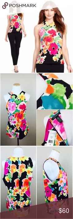 Ralph Lauren Floral Spring Top Lauren Ralph Lauren. Floral Print. Bright colors. Zipper in back with clasp. Beautiful structure. Retails at $79.50. 
