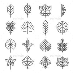 Hipster Geometric Thin Line Leaves For Logos - #Miscellaneous #Vectors Download here: https://graphicriver.net/item/hipster-geometric-thin-line-leaves-for-logos/12772294?ref=alena994