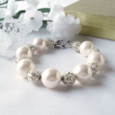 Large White Shell Beaded Bracelet with Alloy Rhinestone Ball Spacers