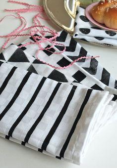 Torchons black and white   MonDiy.fr