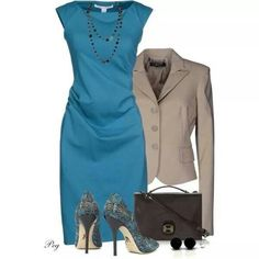 Blue dress.... Taupe accents