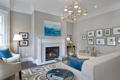 Modern Living Room Interior Design Ideas - Benjamin Moore Abalone. All neutrals with punches of blues