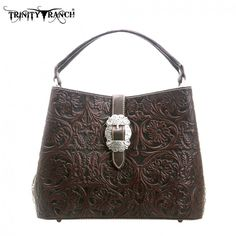Dark Brown Floral Tooled Trinity Ranch Montana West Purse