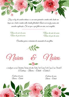 Modelo Convite Casamento Colorido Wedding Invitation Video, Wedding Invitation Inspiration, Wedding Invitations, Happy 28th Birthday, Marriage Cards, Quinceanera Decorations, Plus Size Wedding, Flower Frame, Holidays And Events