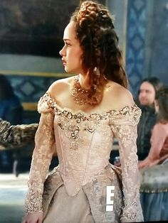 After embroidering this blush lace, it's transformed by @meredith_costumes into this fabulous dress for Princess Claude. #reign #tambourbeading