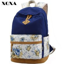 Brand Genuine Quality Floral Leather Canvas Bag Backpack School for Teenager Girl Laptop Bag Printing Backpack Women Backpack(China (Mainland))
