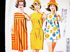 Vintage Misses 1960s Beach Dress Pattern Misses size 12 Womens Beach Dress with Shorts Easy to Sew Sewing Pattern by PatternsFromThePast