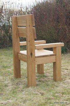 Pallets Outdoor Furniture Rustic Oak Garden Carver Arm Chair - Our rustic oak garden carver chair is handmade from seasoned solid oak. Bespoke custom made garden chairs in the UK. Made to measure garden furniture. Rustic Outdoor Furniture, Rustic Chair, Pallet Furniture, Garden Furniture, Outdoor Chairs, Furniture Dolly, Adirondack Chairs, Rustic Patio, Pallet Chair
