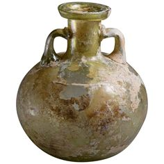 Ancient Roman Glass Aryballos Oil Vessel, 100 AD | From a unique collection of antique and modern vases and vessels at https://www.1stdibs.com/furniture/decorative-objects/vases-vessels/