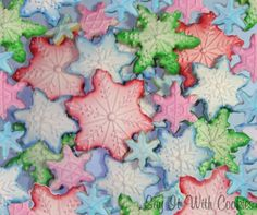 Colorful Snowflake Christmas winter cookies.  Airbrush and hand decorated shortbread cookies.