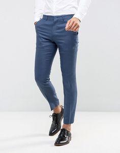 ASOS Wedding Slim Suit Pant In Navy Silk Linen Mix - Navy