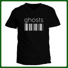 Idakoos - Ghosts barcode - Fantasy and Monsters - V-Neck T-Shirt - Fantasy sci fi shirts (*Amazon Partner-Link)