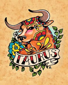 Old School Tattoo Zodiac Art TAURUS Bull by illustratedink on Etsy