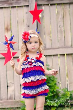 4th of July Petti Romper Red White and Blue lace 09 by IzzysAttic, $22.50