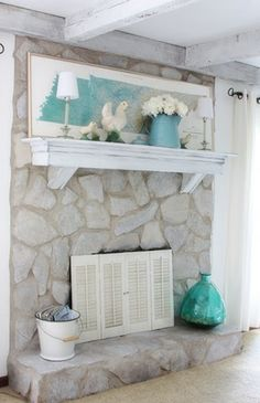 White washed stone fireplace using Annie Sloan chalk paint. | For ...