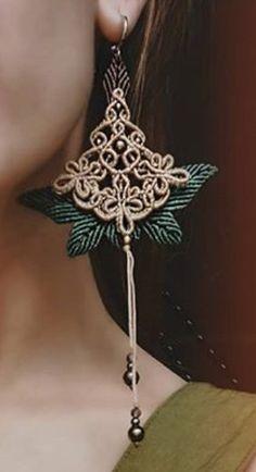 Micro Macrame, Drop Earrings, Jewelry, Jewlery, Jewerly, Schmuck, Drop Earring, Jewels, Jewelery