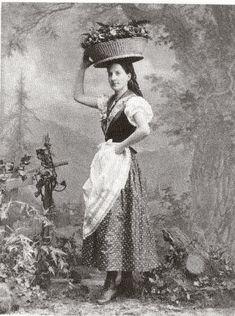 old postcard, girl wearing a dirndl, folk costume, Bavaria