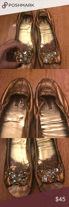 Miu Miu Gold open toe flat Gorgeous gold leather, with gold and gem detailing, very used but have new soles on bottom. Miu Miu Shoes
