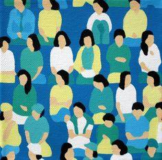 Match Point Mini Stephanie Ho in Texture / Pattern / Gradient Textiles, Textile Patterns, Print Patterns, Pattern Illustration, Graphic Design Illustration, Surface Design, Fractal, People Art, Canvas Artwork
