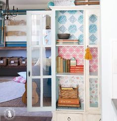 Beautify your boring bookshelf by covering the back wall with decorative wallpaper! (: @the_handmade_home) #PorchBlogger